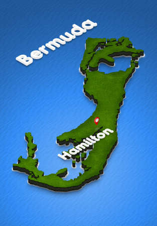 Illustration of a green ground map of Bermuda on water background. Right 3D isometric perspective projection with the name of country and capital Hamilton.