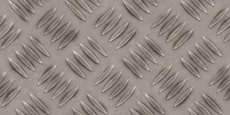 Seamless metallic diamond plate pattern surface. Dirty steel floor pattern texture.