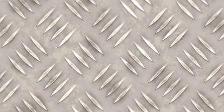 Seamless white metallic diamond plate pattern surface. Dirty steel floor pattern texture.