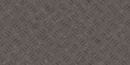 Seamless dark metallic diamond plate pattern surface. Dirty steel floor pattern texture. Stock Photo
