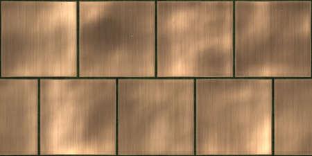 Brons metalen tegels glanzende oppervlak achtergronden. Metaalpanelen naadloze textuur.