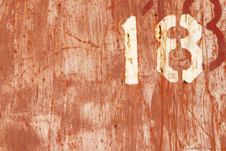 numeric: Rusty Paint Wall Texture. Number 18. Brush Strokes. Stock Photo