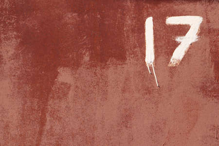 numeric: Rusty Paint Wall Texture. Number 17. Stock Photo