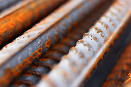 Rustic Metal Armature Rod. Building Construction Background.