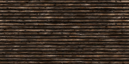 Weathered Logs Wall Background. Wood Surface Texture. Natural Trees Backdrop. 3D Rendering. 3D Illustration.