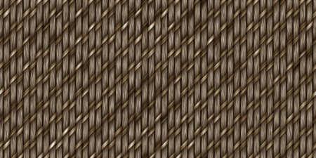 Brown Cross Weave Texture. Wicker Rattan Background Surface. 3D Rendering. 3D Illustration.