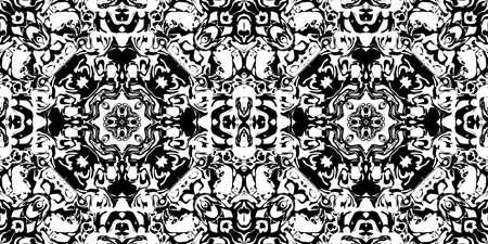 Abstract Rorschach Test Ink Blot Texture. Seamless Monochrome Darkness Pattern Background. Stock Photo