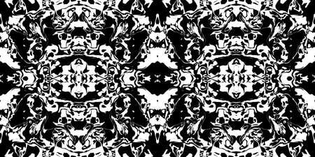 Dark Rorschach Test Ink Blot Texture. Seamless Monochrome Darkness Pattern Background.