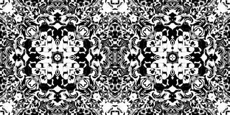 Bizarre Rorschach Test Ink Blot Texture. Seamless Monochrome Darkness Pattern Background. Stock Photo