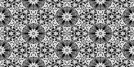 Black Rorschach Test Ink Blot Texture. Seamless Monochrome Darkness Pattern Background. Stock Photo
