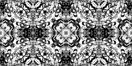 Rorschach Psycho Test Ink Blot Texture. Seamless Monochrome Darkness Pattern Background.