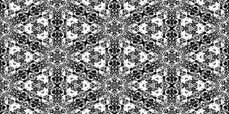 Triangles Rorschach Test Ink Blot Texture. Seamless Monochrome Darkness Pattern Background. Stock Photo