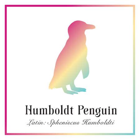 Humboldt Penguin Engraving Illustration.   Wild Arctic Ocean Bird.