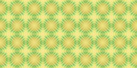 Yellow Green Seamless Psy Pattern Background. Bright Surrealism Texture. Fractal Geometric Backdrop.