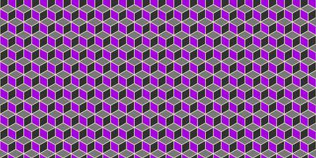 Purple Grey Seamless Cube Pattern Background. Isometric Blocks Texture. Geometric 3d Mosaic Backdrop.