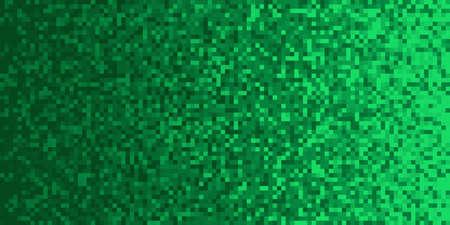 Green Pixilated Gradient Background. Mosaic Pixel Art Texture. Horizontal Pixel Gradient Backdrop.