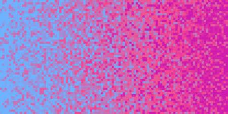 Indigo Lilac Purple Seamless Pixilated Gradient Background. Mosaic Pixel Art Texture. Horizontal Pixel Gradient Backdrop.