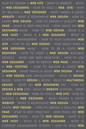 Yellow Web Design Keywords Poster Concept. Web Network Working Text with Highlighted Yellow Key Words. Internet Technology Conceptual Creative on Gray Background.
