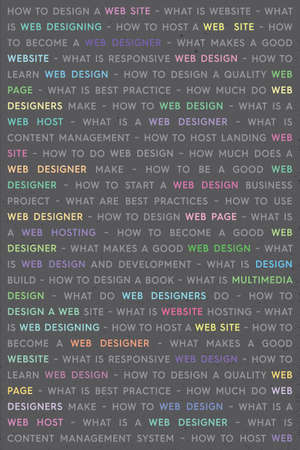 Colored Web Design Keywords Poster Concept. Web Network Working Text with Colored Highlighted Key Words. Internet Technology Conceptual Creative on Gray Background.