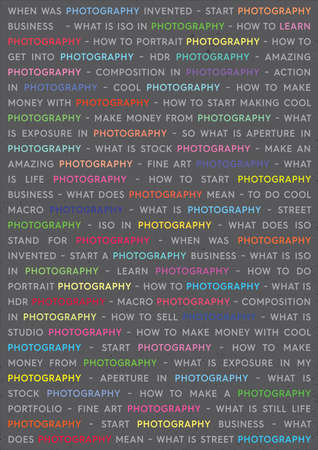 Photography Colored Keywords Marketing Concept. Photographs Poster on Grey Background.