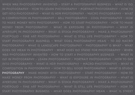 Photography Keywords Marketing Concept. Photographs Poster on Grey Background. Illustration