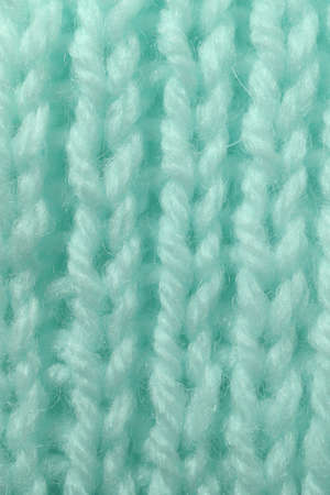 Mint Wool Knitting Texture. Vertical Across Weaving Crochet Detailed Rows. Sweater Textile Background. Macro Closeup.