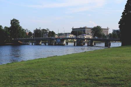Medium Nevka River first Elagin bridge from Elagin island to Stone island. Saint-Petersburg water area. Central Park of Culture and Rest. S. M. Kirova Banco de Imagens