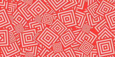 Red Squares Ð¡oncentric Polygons Backgrounds. Seamless Hypnotic Psychedelic Compositions. Stock Photo
