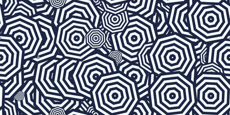 Dark Blue Octagons Ð¡oncentric Polygons Backgrounds. Seamless Hypnotic Psychedelic Compositions.