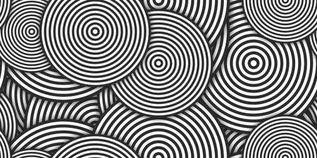 Monochrome Circles Ð¡oncentric Polygons Backgrounds. Seamless Hypnotic Psychedelic Compositions.