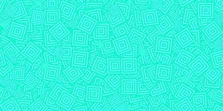 Turquoise Squares Сoncentric Polygons Backgrounds. Seamless Hypnotic Psychedelic Compositions.