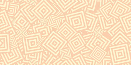 Beige Squares Сoncentric Polygons Backgrounds. Seamless Hypnotic Psychedelic Compositions. Stock Photo - 111434866
