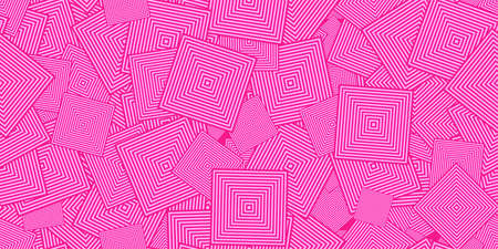 Pink Squares Ð¡oncentric Polygons Backgrounds. Seamless Hypnotic Psychedelic Compositions.