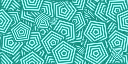 Turquoise Pentagons Ð¡oncentric Polygons Backgrounds. Seamless Hypnotic Psychedelic Compositions. Stock Photo