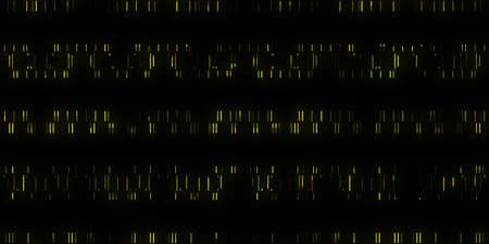 Gelber Datencode-Hintergrund. Nahtlose Ausgabesequenz des wissenschaftlichen Datencodes. Code-Hintergründe für die menschliche Individualität.