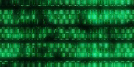 Grüner Datencode-Hintergrund. Nahtlose Ausgabesequenz des wissenschaftlichen Datencodes. Code-Hintergründe für die menschliche Individualität.