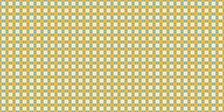 Yellow Cell Checks Background. Seamless Checkered Picnic Tablecloth Texture. Classic Plaid Geometric Checks.