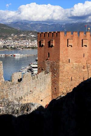 Ancient Bedesten Alanya fortress main tower. Turkey.