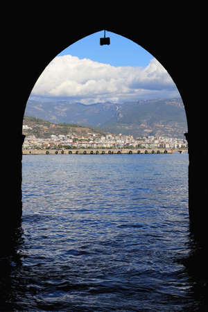 View on Alanya city from Ancient Bedesten Alanya fortress waterline.