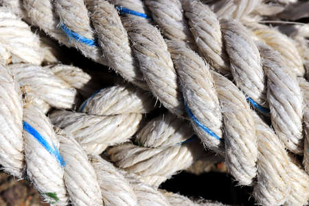 Crossing sling rope texture. Nautical marine background.