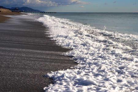 Calm sea beach shoreline. Seascape background.