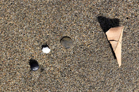 Three different stones and dry leaf on the sand texture. Summer beach background.