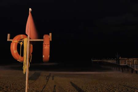 Alanya sea beach shore. Night long exposure. Alanya. Turkey.