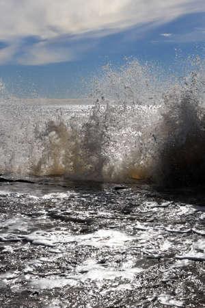 Splashing wave about cliff seascape. Alanya. Turkey.