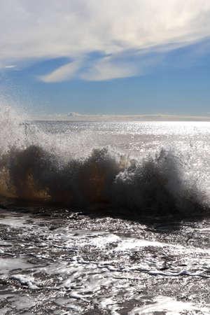 Splashing wave seascape. Alanya. Turkey. Stock Photo