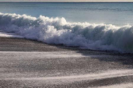 Calm sea splashing wave. Calming state mood. Seascape background.