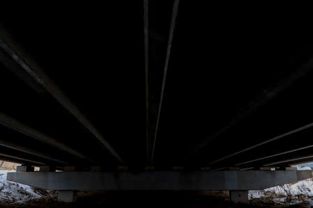 Under bridge dark landscape. Stock Photo