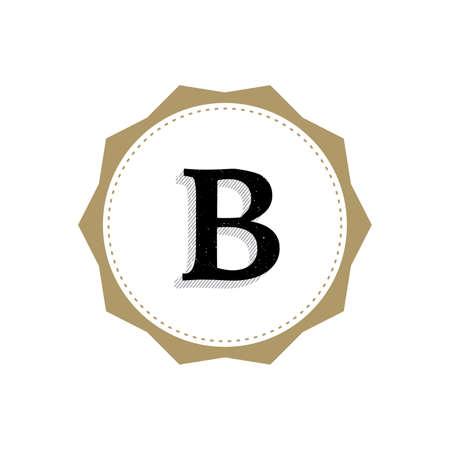 Letter B Monogram Illustration. Lettering Symbol B Logotype. Retro Vintage Elegant Style.