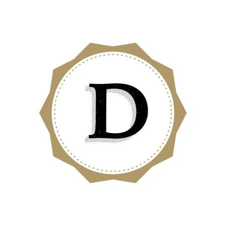 Letter D Monogram Illustration. Lettering Symbol D Logotype. Retro Vintage Elegant Style.