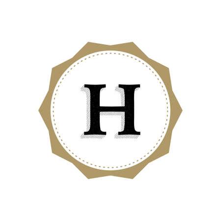 Letter H Monogram Illustration. Lettering Symbol H Logotype. Retro Vintage Elegant Style.